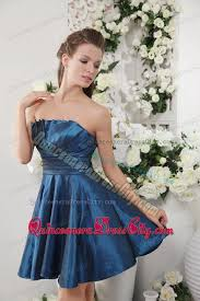 taffeta mini length fan shaped neck navy blue dress for damas