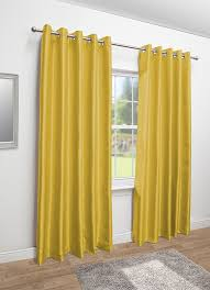 Yellow Faux Silk Curtains Faux Silk Eyelet Fully Lined Curtains