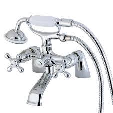 kingston brass chrome deck mount clawfoot tub faucet w hand shower