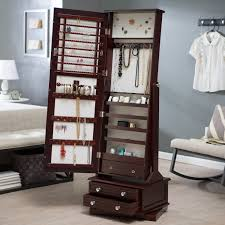 Distressed Jewelry Armoire Decorating White Solid Wood Cheval Mirror For Home Furniture Ideas