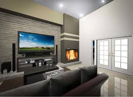 decor corner gas fireplace with grey sofa and tv stand for cozy