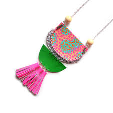 pink leather necklace images Hot pink leather tassel statement necklace with peach and mint abst jpg