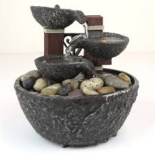 Water Fountain Home Decor Water Rock Fountain W Led Lights Zen Indoor Home Decor 5