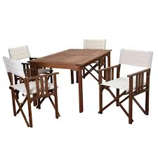 amazonia bahamas eucalyptus wood 5 piece round patio dining set rio 5 piece eucalyptus rectangular patio dining set with off white canvas