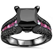 black wedding rings with pink diamonds noori 14k black rhodium gold 3ct black pink sapphire
