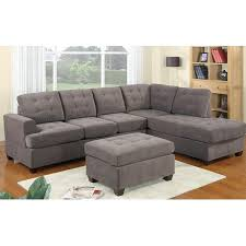 2 piece modern reversible grey tufted microfiber sectional sofa
