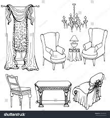 Furniture For A Living Room Set Furniture Living Room Classical Vector Stock Vector 532786456