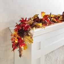 faux maple leaves led pre lit 6 garland floral plants