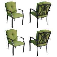 Patio Dining Chairs With Cushions Garden Treasures Set Of 4 Cascade Creek Textured Black Slat Seat