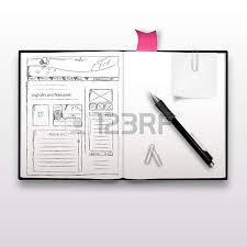 website sketch on notebook realistic illustration royalty free