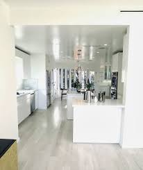 simple modern white kitchen marble slab backsplash super clutter