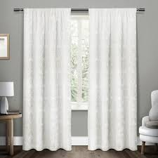 Winter Window Curtains Damask Winter White Chenille Heavyweight Jacquard Medallion Rod