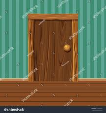 cartoon wooden old door home interior stock vector 512654320