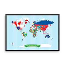 Map Of The World Poster by World Map Poster Made With Flags Of The World The Pixel Prince