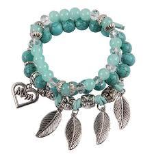 beads charm bracelet images Unique design jewelry party beads charm bracelet silver color leaf jpg