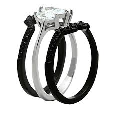 black band engagement rings his hers 4pcs black titanium matching band women marquise cut
