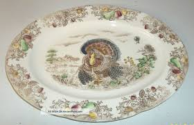 antique vintage porcelain thanksgiving turkey serving platter
