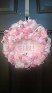 it s a girl ribbon it s a girl 8 ribbon wreath with pink and white ribbon pacifiers
