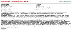 material coordinator cover letters