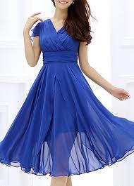 cap sleeve v neck royal blue dress rosewe com usd 31 74