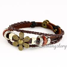 mens charm bracelet images Owl flower charms for jewelry making wholesale leather cuff jpg