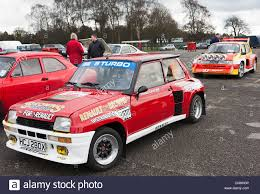 renault 5 renault 5 turbo and mini metro 6r4 rally cars in the paddock at