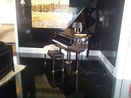 high gloss black oak floors eclectic family room