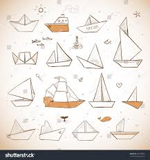 vintage origami paper ships sketches paper stock vector 267308282