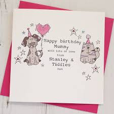 personalised happy birthday card from the dog and cat by eggbert
