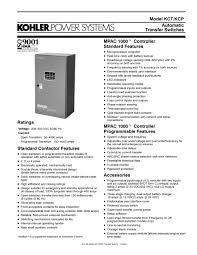 transfer switches kct kohler power systems pdf catalogue