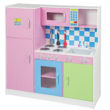 deluxe wooden pink kitchen set kids toddler refrigerator pretend