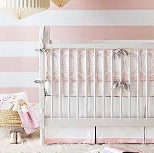 light pink crib bedding charming unicorns ruffled bumperless baby bedding crib set in
