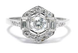 art deco style diamond ring 0 90ct 18ct white gold art deco