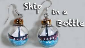 ship in a bottle polymer clay earrings miniature