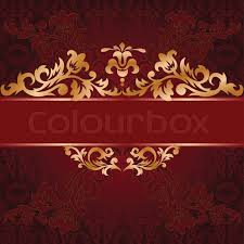 the golden bough of floral ornament on a purple background stock