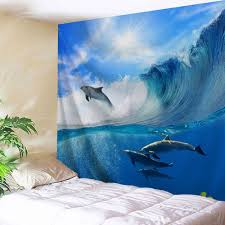 ocean blue w51 inch l59 inch surfing dolphin bedroom decor wall rosegal