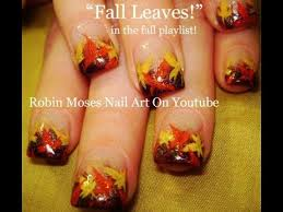 easy fall leaf nail diy autumn leaves thanksgiving nails