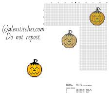 small halloween pumpkin happy face free cross stitch pattern