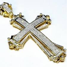 real gold cross necklace images Cross charm 2 5 tall 1 75ct real diamonds 10k yellow gold mens big jpg
