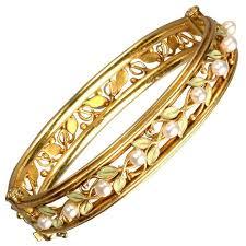 gold bangle bracelet yellow images Arts and crafts enamel pearl gold bangle bracelet for sale at 1stdibs jpg