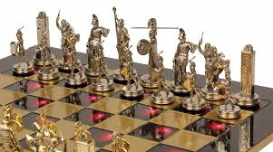 poseidon theme chess set brass silver pieces