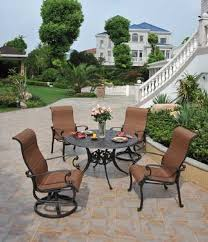 Bar Height Patio Set With Swivel Chairs St Augustine By Hanamint Luxury Cast Aluminum Patio Furniture
