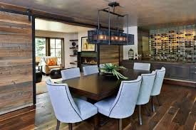 Rectangular Light Fixtures For Dining Rooms Contemporary Dining Room With Barn Door By White Orchid Interiors