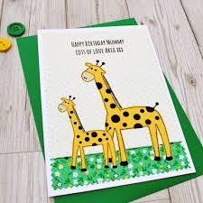giraffe and baby u0027 personalised birthday card by jenny arnott cards