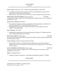 Resume In English Sample by Banker Resume Example