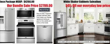 kitchen appliance package sale white shaker cabinets maytag ss appliance sale under 10k