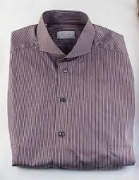 nwot eton dress shirt slim fit 39 15 5 brown cotton white stripes