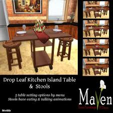 Drop Leaf Kitchen Island Table Second Life Marketplace Kitchen Island Dining Drop Leaf Table