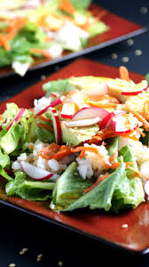vegetarian sushi roll salad with soy ginger dressing cooking up