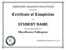 bloodborne pathogens certificate certified training solutions